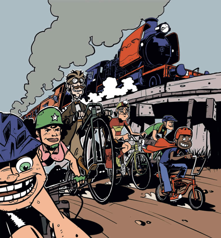 Illustrated image of group of people racing steam train